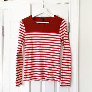 NWOT J.Crew Orange & Red Striped Top